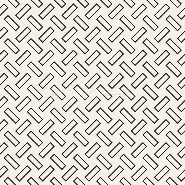 Trendy monochrome twill weave. Vector Seamless Black and White Pattern. Stock photo © Samolevsky