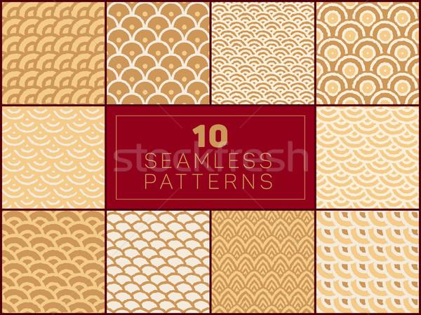 Foto stock: Vetor · sem · costura · padrões · conjunto