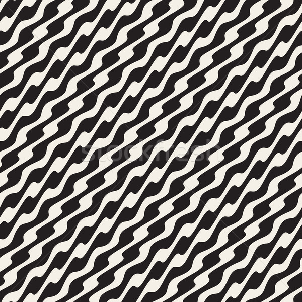 Wavy Diagonal Lines. Vector Seamless Black and White Pattern. Stock photo © Samolevsky