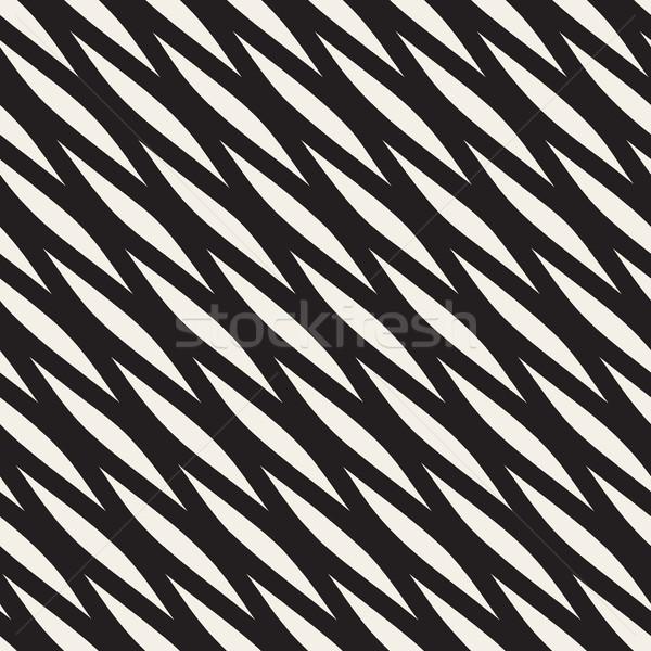 Vector Seamless Black and White Diagonal Wavy Shapes Pattern Stock photo © Samolevsky
