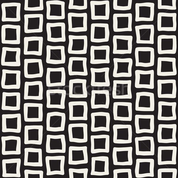 Vector sin costura blanco negro dibujado a mano rectángulo pavimento Foto stock © Samolevsky