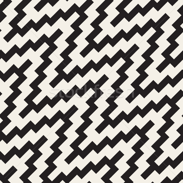 Vector Seamless ZigZag Rounded Diagonal Lines Geometric Pattern Stock photo © Samolevsky