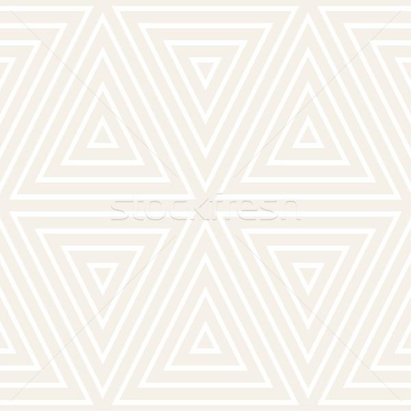 Stylish Minimalistic Triangle Shape Lines Grid. Vector Seamless Black and White Pattern. Stock photo © Samolevsky