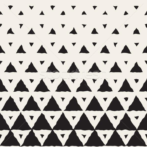 Vector Seamless Hand Painted Line Geometric Triangles Halftone Gradient Pattern Stock photo © Samolevsky