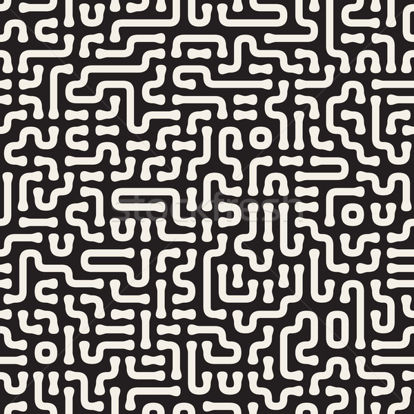 Irregular Rounded Lines Cirquit. Vector Seamless Black and White Pattern. Stock photo © Samolevsky
