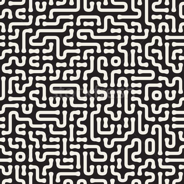 行 ベクトル シームレス 黒白 パターン 抽象的な ストックフォト © Samolevsky