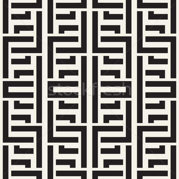 Interlacing Lines Maze Lattice. Ethnic Monochrome Texture. Vector Seamless Black and White Pattern Stock photo © Samolevsky