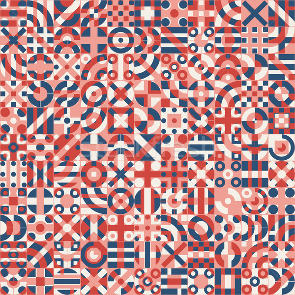 Stock photo: Vector Seamless Red Blue White Irregular Geometric Blocks Pattern
