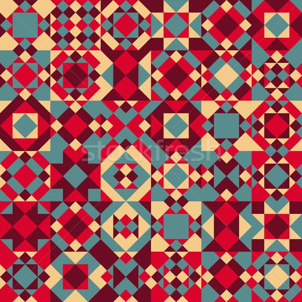 Vector Seamless Geometric Blocks Quilt Pattern Stock photo © Samolevsky