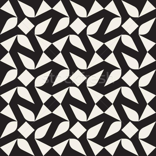 Vektör siyah beyaz geometrik desen soyut doku Stok fotoğraf © Samolevsky