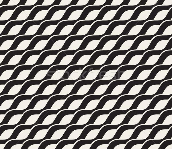 Vector Seamless Black and White Interlacing Wavy Diagonal Lines Pattern Stock photo © Samolevsky