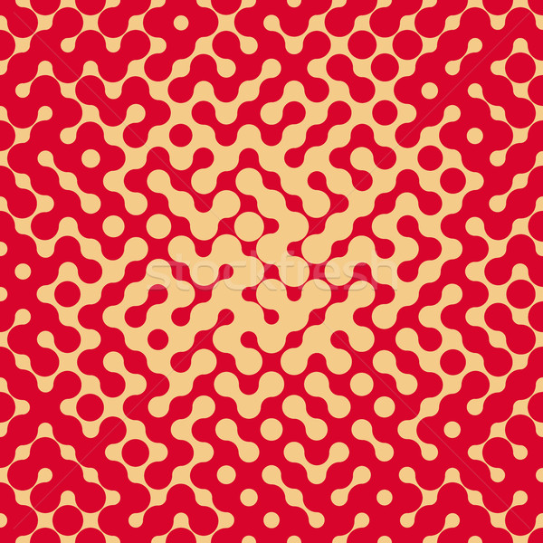 Vector Seamless Rounded Shape Halftone Gradient Irregular Retro Grungy Red  Tan Pattern Stock photo © Samolevsky