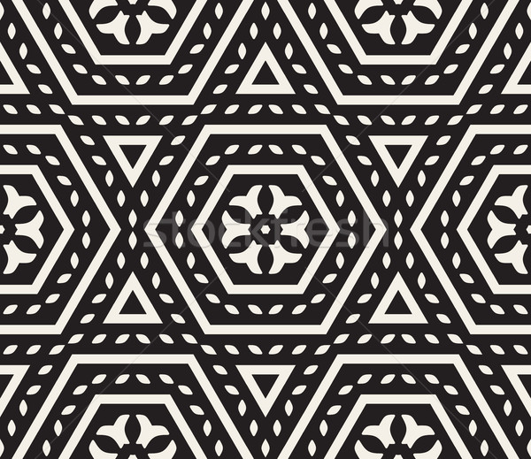 Vector Seamless Black and White Rounded Floral Oriental Hexagonal Pattern Stock photo © Samolevsky