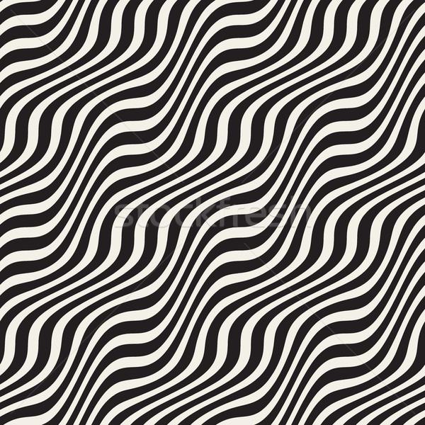 波浪狀的 波紋 向量 無縫 黑白 商業照片 © Samolevsky