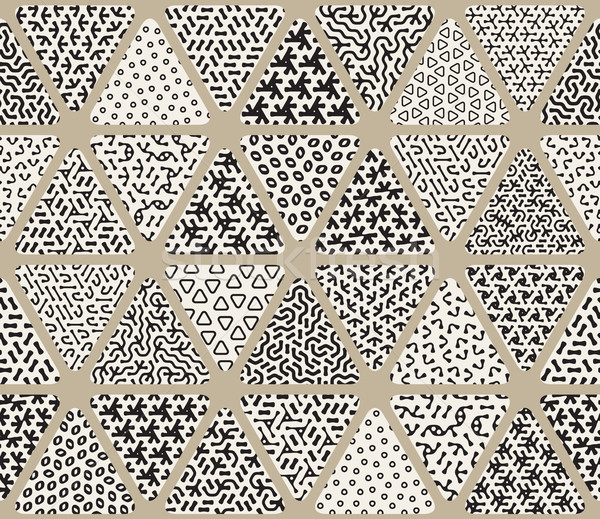Vector Seamless Black and White  Triangle Patchwork Tiling Filled With Jumble Patterns Stock photo © Samolevsky