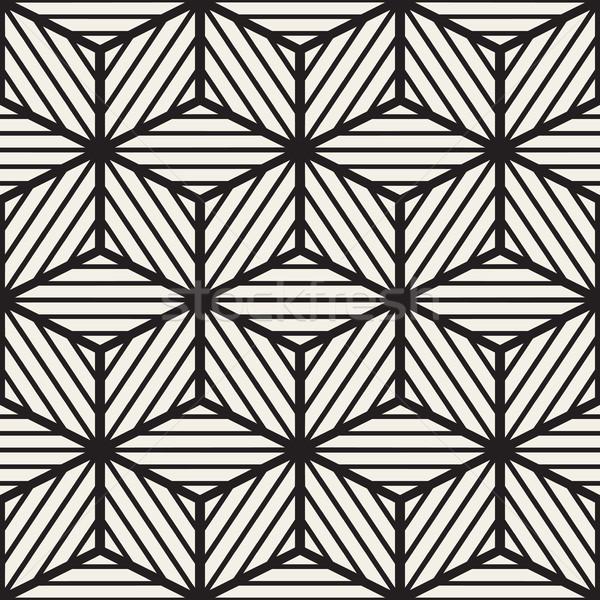 Сток-фото: вектора · бесшовный · черно · белые · куб · линия · сетке