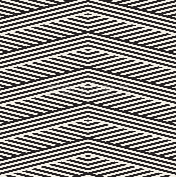 Abstract ZigZag Parallel Stripes. Vector Seamless Pattern. Repeating Monochrome Background Stock photo © Samolevsky
