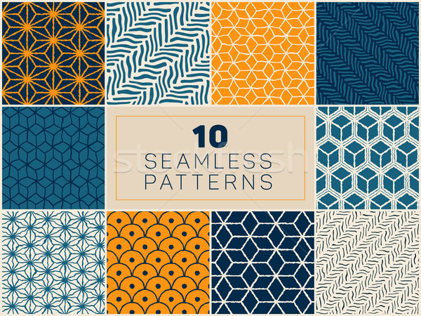 Set of Ten Vector Seamless Hand Drawn Geometric Line Patterns Stock photo © Samolevsky