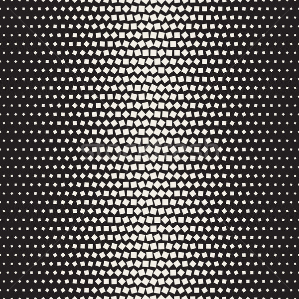 Vector Seamless Black and White Halftone Random Squares Pattern Stock photo © Samolevsky