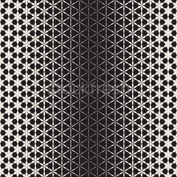 Triangular Star Shapes Halftone Lattice. Vector Seamless Black and White Pattern. Stock photo © Samolevsky