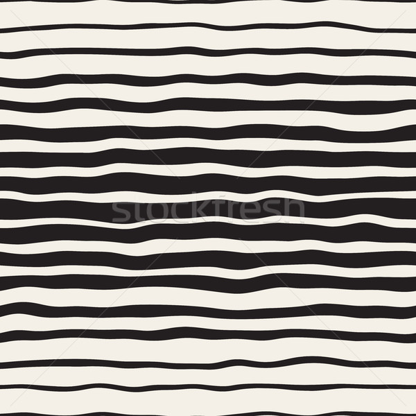 Wavy Ripple Hand Drawn Gradient Lines. Vector Seamless Black and White Pattern. Stock photo © Samolevsky