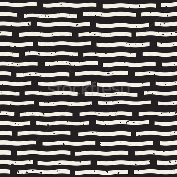Vector Seamless Hand Drawn Horizontal Lines Grungy Pattern Stock photo © Samolevsky