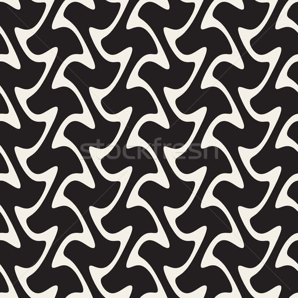 Hand Drawn Vertical Wavy Lines. Vector Seamless Black and White Pattern. Stock photo © Samolevsky