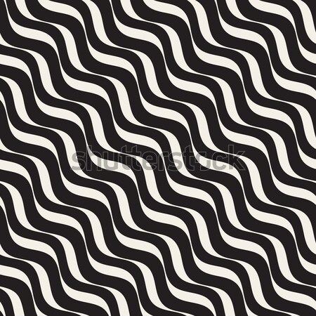 Hand Drawn Wavy Horizontal Lines. Vector Seamless Black and White Pattern. Stock photo © Samolevsky