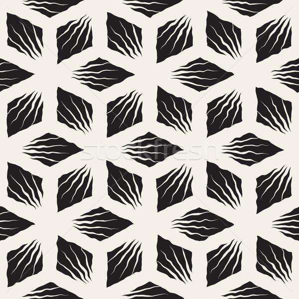 Vector Seamless Hand Painted Geometric SunBurst Lines Rhombic Pattern Stock photo © Samolevsky
