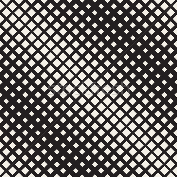 Vector Seamless Black And White Diagonal Halftone Rhombus Pattern Stock photo © Samolevsky
