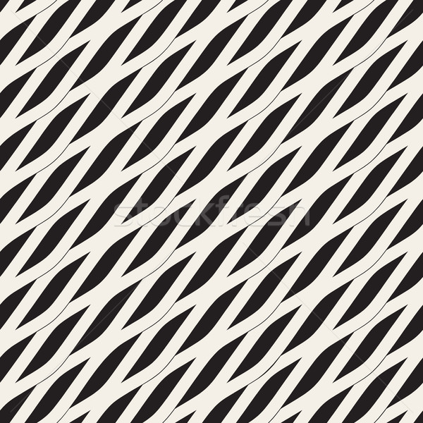 Vector Seamless Black and White Diagonal Wavy Shapes Pattern Stock photo © Samolevsky