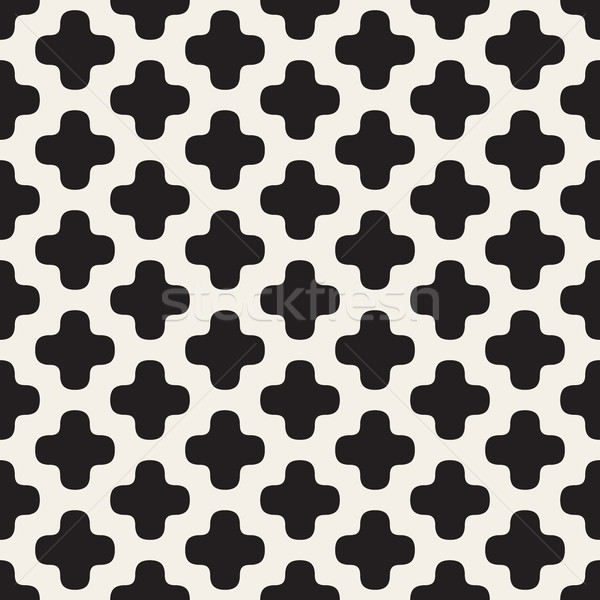 Vector Seamless Rounded Cross Shape Simple Grid Pattern Stock photo © Samolevsky