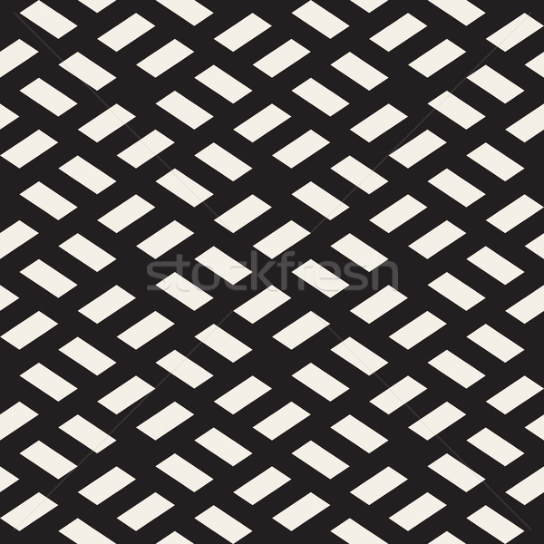 Vector Seamless Black and White Rhombus Grid Rectangles Pavement Geometric Pattern Stock photo © Samolevsky