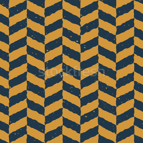 Vector Seamless Blue Yellow Color Hand Drawn Checker Distorted Parallelograms Grungy Pattern Stock photo © Samolevsky