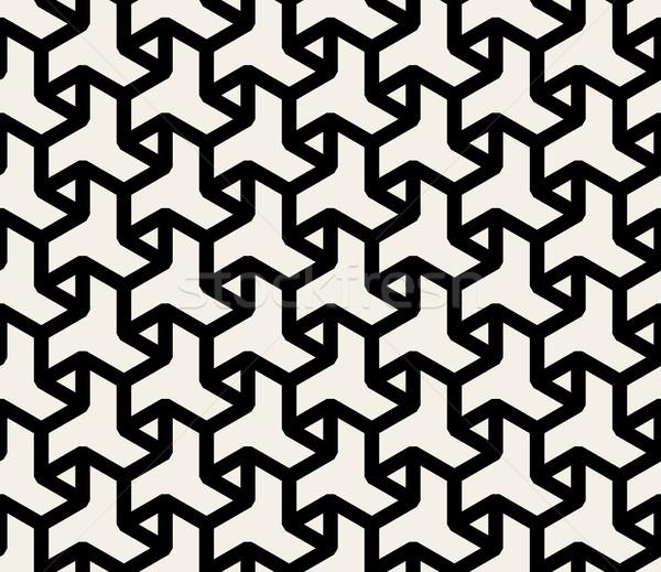 Vector Seamless Black And White Abstract Geometric Hexagonal Triangle Line Pattern Stock photo © Samolevsky