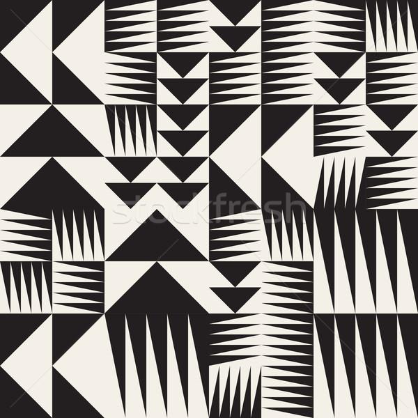 Vector Seamless Black And White Abstract Geometric Irregular Triangle Tiling Pattern Stock photo © Samolevsky
