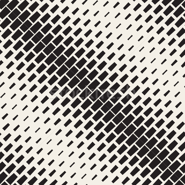 Vector Seamless Black And White Diagonal Halftone Rectangles Pattern Stock photo © Samolevsky