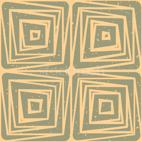 Vector Seamless Hand Drawn Geometric Lines Square Tiles Retro Pattern Stock photo © Samolevsky