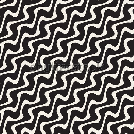 Hand Drawn Wavy Diagonal Lines. Vector Seamless Black and White Pattern. Stock photo © Samolevsky