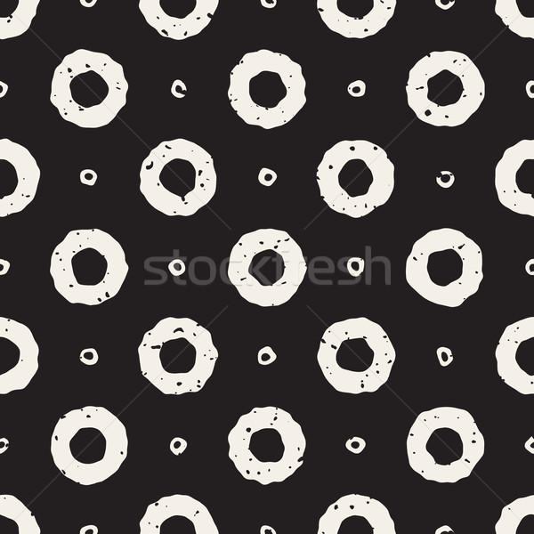 Vector Seamless Hand Painted Line Geometric Circular Donut Shape Pattern Stock photo © Samolevsky