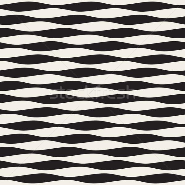 Stok fotoğraf: Vektör · siyah · beyaz · yatay · dalgalı · hatları