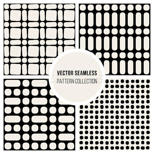 Vettore senza soluzione di continuità disegno geometrico set quattro nero Foto d'archivio © Samolevsky