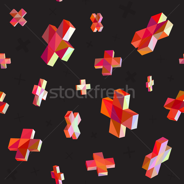 Vector Seamless Multicolor Cross Shape Dimensional Jumble Pattern Stock photo © Samolevsky
