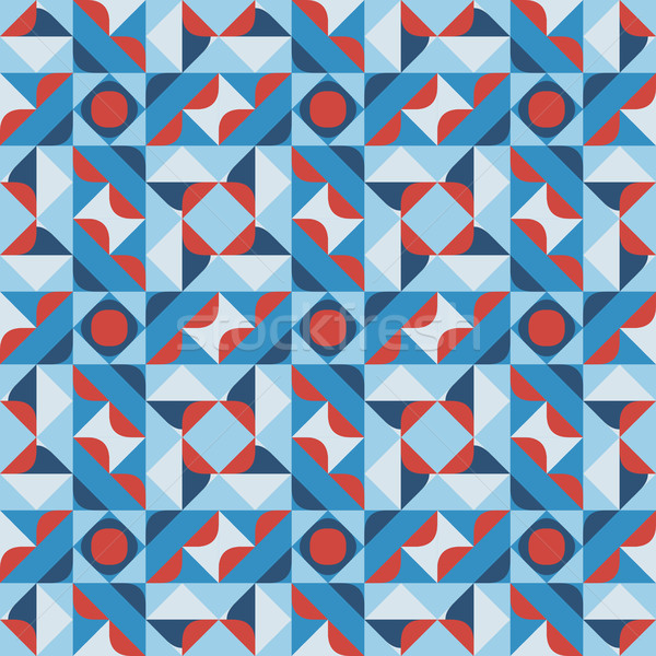 Vector Seamless Geometric Square Pattern in Blue White and Red Stock photo © Samolevsky