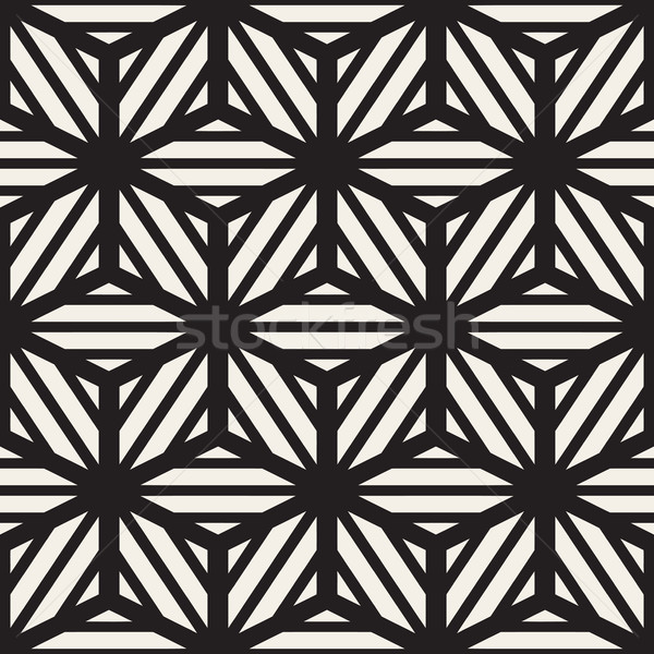 Vector Seamless Black And White Cube Lines Grid Pattern Stock photo © Samolevsky