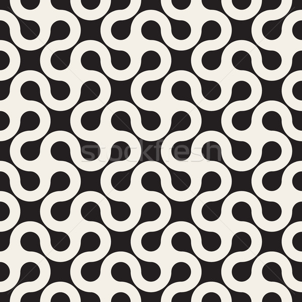 Vector Seamless Black and White Rounded Line Spiral Cross Pattern Stock photo © Samolevsky