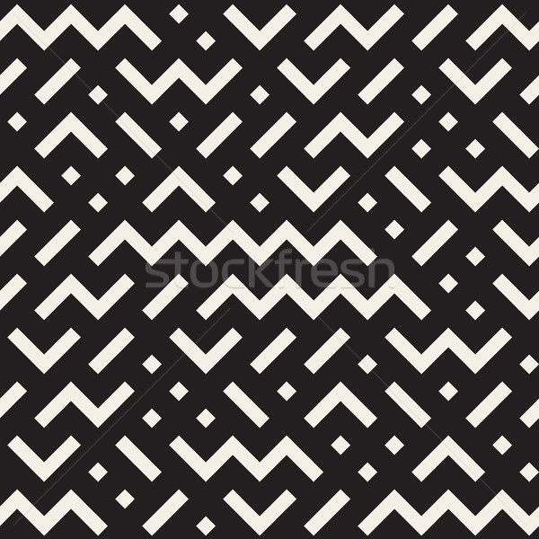 Vector Seamless Black And White Jumble ZigZag Lines Pattern Stock photo © Samolevsky