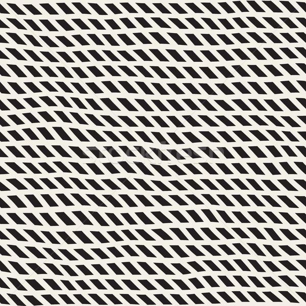 Wavy Hand Drawn Slanted Lines. Vector Seamless Black and White Pattern. Stock photo © Samolevsky