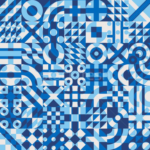 Vetor sem costura azul branco geométrico blocos Foto stock © Samolevsky