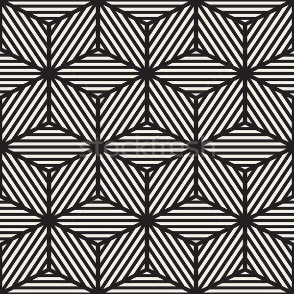 Stok fotoğraf: Vektör · siyah · beyaz · küp · hatları · ızgara